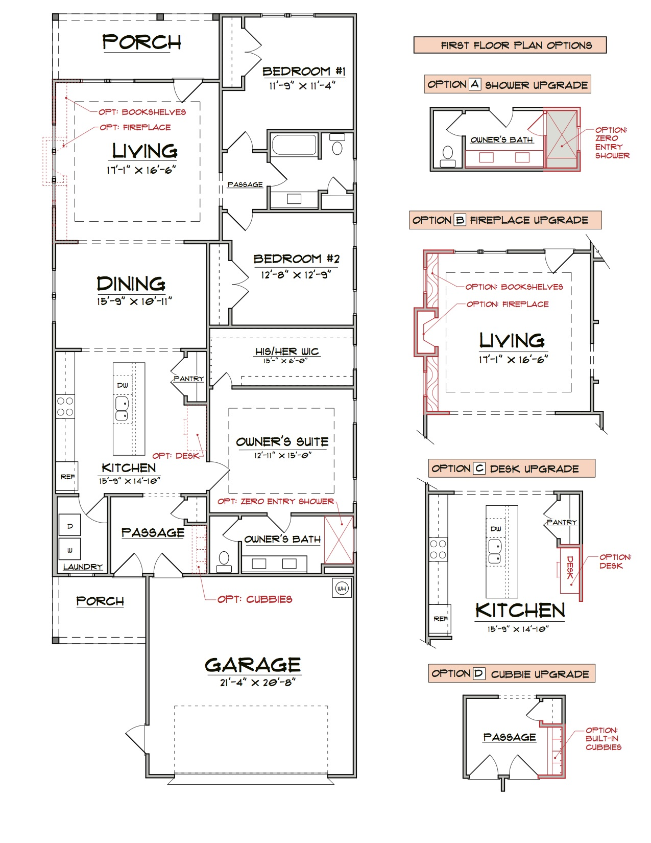 The Sweetbrier First Floor Floorplan for Elevation A and B